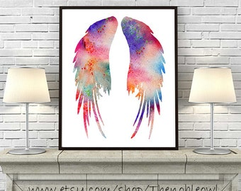Watercolor Art Print Angel Wings Art Print,Colorful Watercolor Painting,Feather Art, Home Decor Wall Art - 190