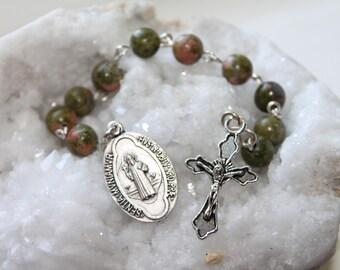 St. Benedict Catholic Rosary Chaplet with Unakite---Patron Saint Catholic Pocket Rosary--Custom/Handmade