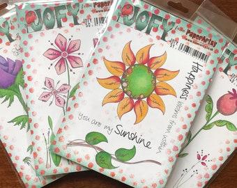 PaperArtsy Jofy Cling Rubber Stamp Set, Flowers Jofy Stamp Set; 4 Variations