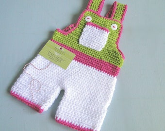 Baby Girl Overalls, Crochet Baby Overalls, 0-3 months, Ready to Ship, Boxed for Gift Giving, Pink, Green and White