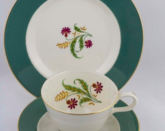 Teacup Trio Vintage Homer Laughlin Cavalier  Green Floral Teacup Snack Plate 3 Piece Luncheon Set Tea Party Decor