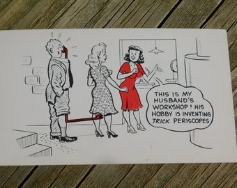 1950's 60's Original Magazine or Greeting Cards Risque Cartoon That reads This Is My Husbands Workshop