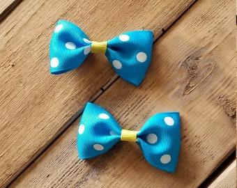 Hair Bow Set, Blue Hair Bow Set, Blue Hair Bows, Polka Dot Bow Set, Blue Polka Dot Bows, Polka Dot Hair Bows, Yellow Hair Bows