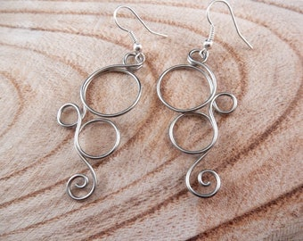 Silver bubble earrings • nickel free • medium statement dangle earrings • unique jewelry gift for her • everyday circle drop ear accessory