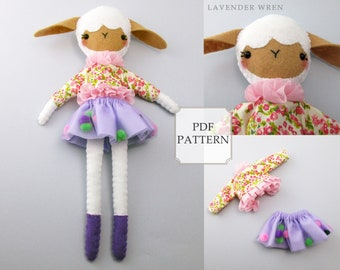 Rag Doll Sewing Pattern, Doll Sewing Pattern, Fashion Sewing, Doll Clothes Pattern, Sheep Pattern, Digital PDF, Sheep Sewing Pattern Pdf