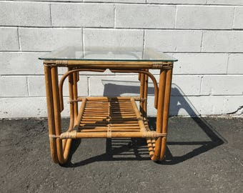 Coffee Table Cocktail Rattan Bohemian Boho Chic Accent Side Stand Chippendale Chinese Bamboo Palm Beach Chinoiserie Hollywood Regency Beach
