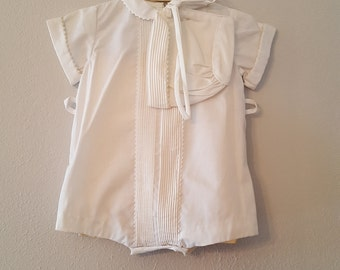 Vintage Baby Boys White Romper with Rick Rack and Bonnet by C.I. Castro- Size 0- Newborn - New, never worn- Baptism- Christening- Easter