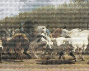 Horse Cross Stitch Kit, The Horse Fair, Embroidery Kit, Art Cross Stitch, Embroidery Kit, Art Cross Stitch, Horse Cross Stitch, Rosa Bonheur