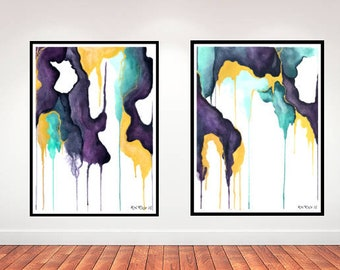 Two Paintings, Abstract Painting Set, Painting Canvas Set, Two Painting Set, Large Abstract, Synesthesia Paintings, Abstract Large,