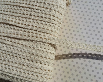 "Cream Cluny Trim - Narrow Natural Crochet Torchon Cluny Lace - 3/8"" Wide"