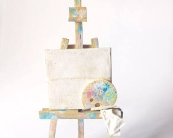 Miniature Adjustable Easel with Palette and Brush 1:12 scale