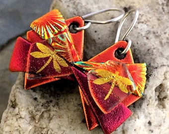 Gorgeous Red 3D Dichroic Glass Earrings - Reds and Gold Dragonfly with Sterling Silver Hooks
