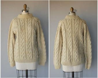 Vintage 1970s Pom Pom Sweater • 1970s Sweater  • Wool Cable Knit Sweater • 70s Fisherman Sweater  • Popcorn Knit Sweater- (small/medium)