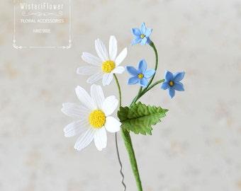 Gift for women flower jewelry Boho Flower for hair Woodland Blue flower nature jewelry White wedding Daisy Spring flower Flower photo prop
