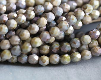 6mm (25) Opaque Green Luster, Faceted, Round, Czech Glass, Beads, Fire Polished, 25 pieces, Stone Creek