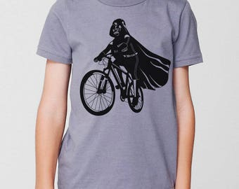 Darth Vader Is Riding it kids graphic tee, star wars funny shirt, toddler/youth children t-shirt, gift for son nephew grandson, bike shirt