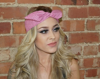 Pink wired festival  Rockabilly Pin up Headband