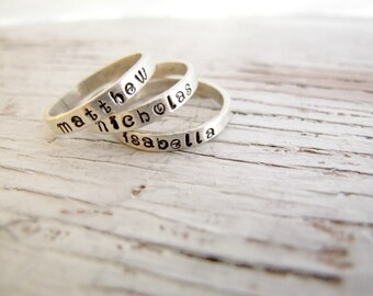 Hand Stamped Personalized Stacking Ring, Mother's Ring, Kids Names Ring, Sterling Silver, Mother's Day Gift