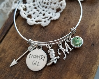Rodeo charm bracelet,  gift for country girl, gift for cowgirl, horse lover jewelry, country gal charm bracelet, silver personalized bangle