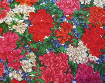 Free Shipping! Geraniums by Joan Messmore for Cranston. 1/2 yard. 17100
