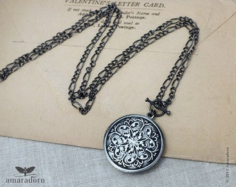 Gunmetal Victorian Locket Necklace, Ornate Locket with Figaro Chain, Antiqued Silver Locket Pendant, Vintage Style Necklace, Handmade UK