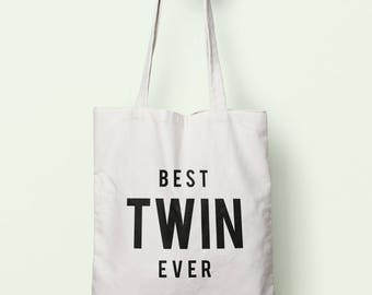 Double Sided Print Best Twin Ever Tote Bag Long Handles TB1277