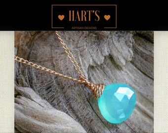 Teal Chalcedony Gemstone 14K Gold Pendant Necklace