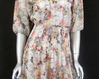 Vintage 70s 80s Semi Sheer Floral Muted Tones Dress - Parade New York - Accordion Pleating Around Waist/Hips