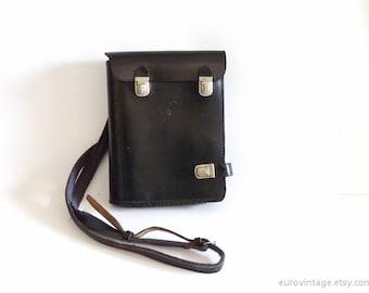 Vintage Police Leather Map Bag Briefcase Black Leather Crossbody Bag 70s