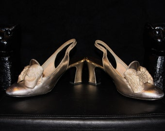 Golden Idol-60's Mod Metallic Gold Slingback Heels with Gold Bow