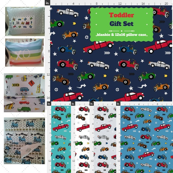 Toddler Blanket Set - Cars Trucks - Jeep Pickup Trucks Blanket Bedding, Pillow Case / Sham, Kids Cotton & Minky Blanket