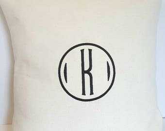 16 x 16 Pillow Cover with Embroidered Circle and Single Letter Monogram-