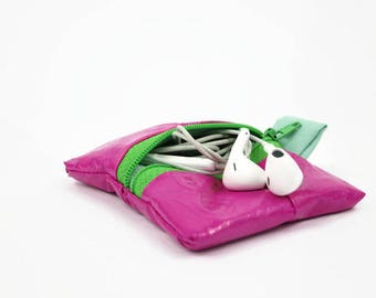 Pink coin purse, eco friendly tampon bag, ear bud case, wedding favor, gift for guests, guest favor, vegan, stocking stuffer, christmas gift