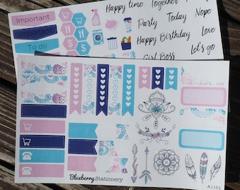 Stickers Bohemian Collection - Planner Stickers for Kikki K, Erin Condren, Filofax or any Planner