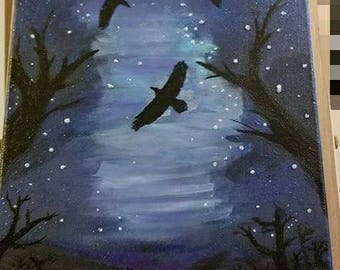 Flying high in the night sky