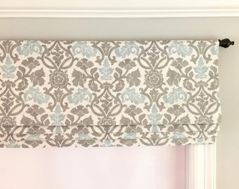 Faux (fake) flat roman shade valance. Custom Sizing.  Waverly Anika Spa.  Cream, Blue and Grey.  Other colors are available:)