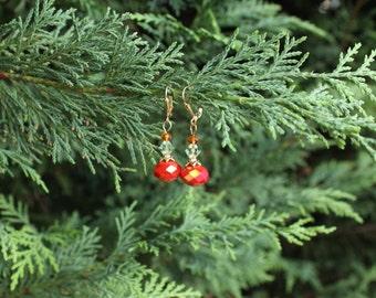 Orange-red crystal earrings