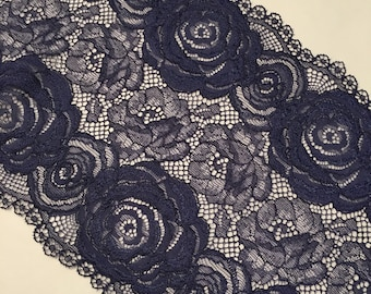 "7.25""/18.4cm Indigo Blue Floral Stretch Galloon Lace"