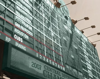 Chicago Cubs Wrigley Field Scoreboard Gallery Wrapped  Canvas Art Print, Chicago Cubs Canvas, Wrigley Field Art