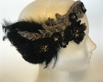 1920s Paris Headpiece, Parisian Headpiece, 1920s Belle Epoque Headpiece, 1920s Paris Headband, Glamorous Beaded Feather Headband