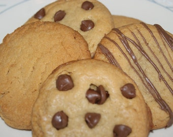 Peanut Butter Cookies, Cookie Sampler - One dozen assortment, homemade, edible gift, made to order, ships fast, large cookies, teacher gift