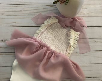 NEW release Cora sitter romper lace ivory and peach romper set sitter session limited time pre order FREE shipping newborn photoprop romper