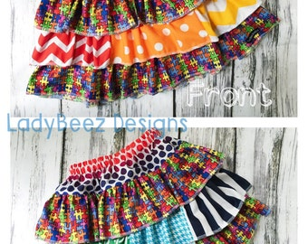 Autism Awareness Triple Ruffle Skirt made from Create Kids Couture Pattern, Girl's Skirt, Choose Your Size