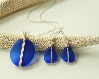 Cobalt blue sea glass set blue seaglass necklace frosted glass earrings sea glass necklace and earrings wire wrapped jewelry sterling silver