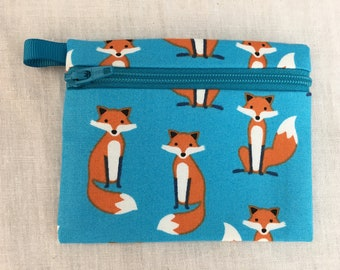 Fox Zipper Coin Purse, Credit Card Wallet, Earbud Pouch, IPod Holder