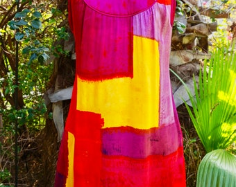 Vintage Sleeveless Color Block Summer Mini Dress By Laundry By Shelli Segal / Pink Yellow Red And Purple Dress / Silk Dress / Contemporary