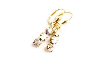 Crystal Earrings - Simple Three Stone White and Crystal Earrings