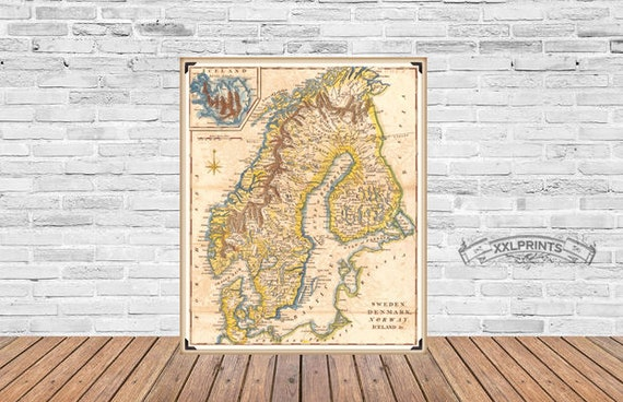 Antique map of sweden denmark norway and iceland 1780 like this item gumiabroncs Gallery