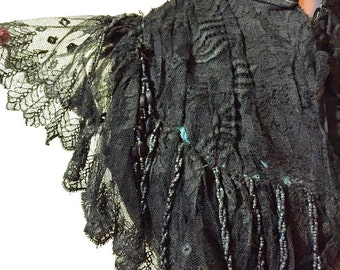 Antique Victorian Mantelet Bodice, Steampunk Top, 1800s Black Beaded & Embroidered Net Lace Vest, A A Berry New York