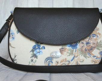 Vintage style bag. Dark brown bag. Cream handbag. Handmade crossbody bag. Floral Saddle Bag. Shabby Chic Bag. Leather Bag.Gift For Her